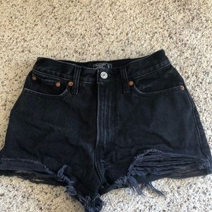 Distressed black denim shorts from Abercrombie!